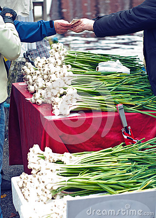 Selling garlic