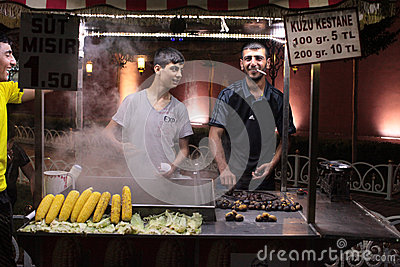 Selling grilled corn and chestnuts. Istanbul, Turkey