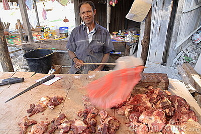 Selling meat on Timor, Indonesia Editorial Stock Image