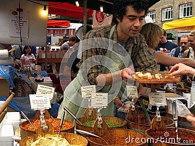 Selling pesto and hummus Editorial Stock Photo