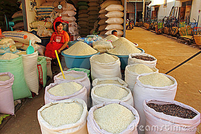 Selling rice Editorial Photo