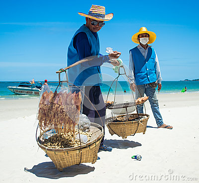 Selling seafood on the beach Editorial Stock Image