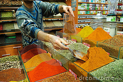 Selling spices on grand bazaar Editorial Photo