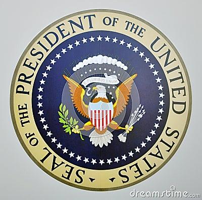 Sello presidencial en Air Force One Imagen de archivo editorial
