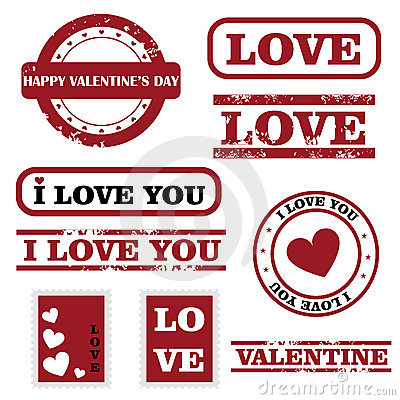 Sellos de la tarjeta del día de San Valentín