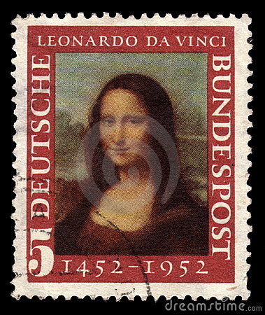 Selo de porte postal alemão Mona Lisa