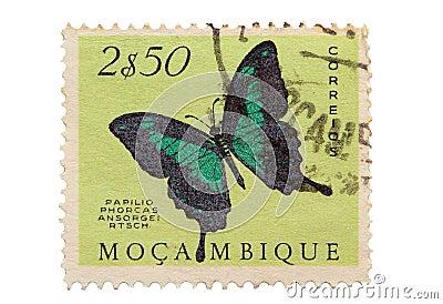 Selo de porte postal de Mozambique do vintage