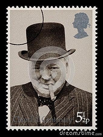 Selo de porte postal de Winston Churchill Foto de Stock Editorial
