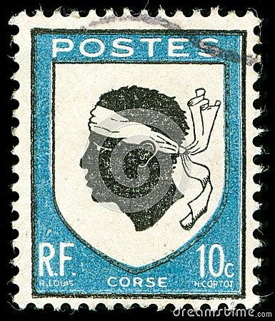 Selo de porte postal do vintage de Córsega