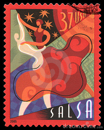 Selo de porte postal dos EUA da salsa Imagem Editorial