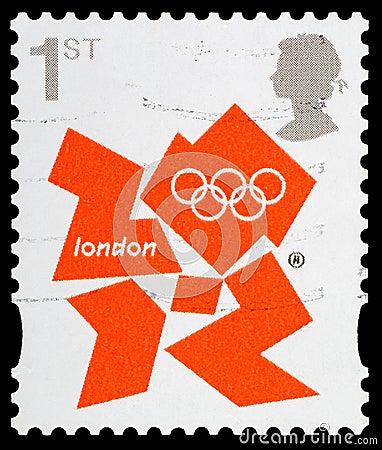 Selo de porte postal dos Jogos Olímpicos de Londres 2012 Imagem de Stock Editorial