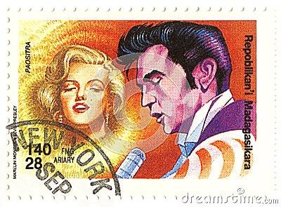Selo Do Vintage Com Monroe E Elvis