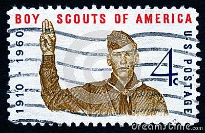 Selo dos EUA dos escuteiros do menino do vintage