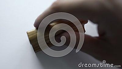 Selo retangular de madeira carimbado no Livro Branco vazio, molde vazio, controle video estoque