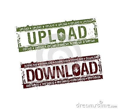 Selos da transferência de arquivo pela rede do Download