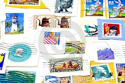 Selos de porte postal cancelados dos E.U.