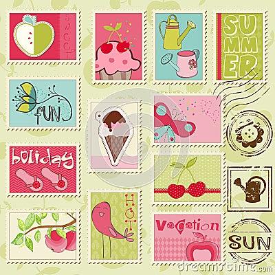 Selos do verão do vetor