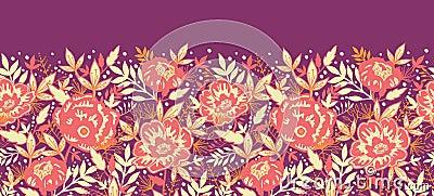 Sem emenda horizontal dourado das flores e das folhas