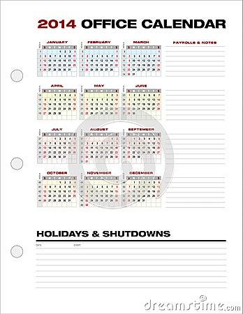 A semana de calendário limpa do escritório empresarial 2014 numera o vetor