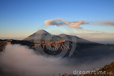 Semeru volcano on Java, Indonesia