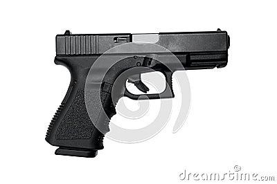 Semi Auto Handgun with clipping path