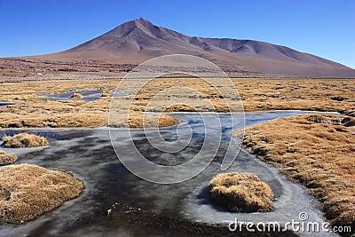 Semi frozen lakes in Eduardo Avaroa Reserve