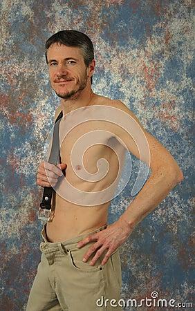 Semi nude muscular man