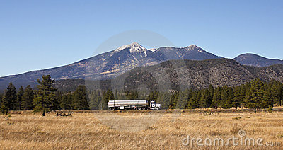 A Semi Tanker Truck and the San Francisco Peaks Editorial Photography