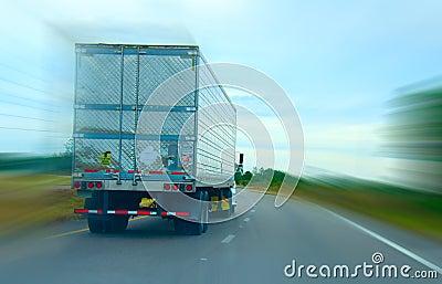 Semi truck cruising down the highway