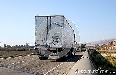 Semi truck on freeway
