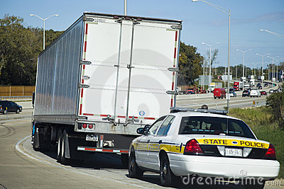 Semi Truck stopped by the State Police patrol Editorial Photography