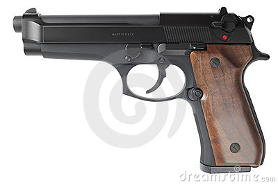 Semiautomatic handgun on white background
