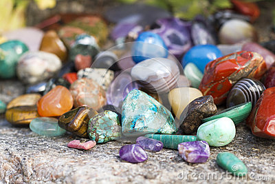 Semiprecious gemstones on natural background Stock Photo