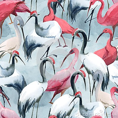 Free Semless Pattern Of Storks On Watercolor Splash Background Stock Photo - 117378060
