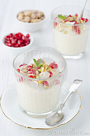 Free Semolina Dessert With Pomegranate Seeds And Pistachios Portions Stock Image - 28818661