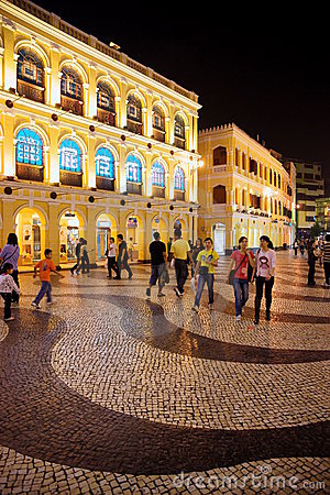 Senado Square by Night, Macau. Editorial Photo