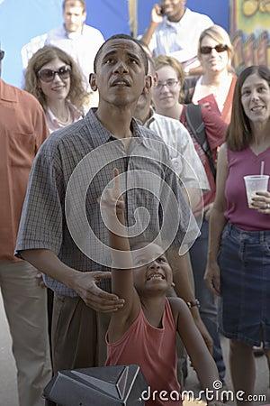 Senator Barak Obama  with  his daughter Editorial Stock Photo