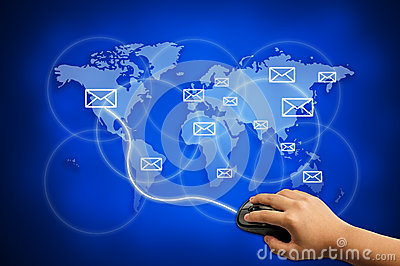 Send e-mail to the world for communication concept