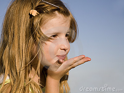 Send of kiss from little girl