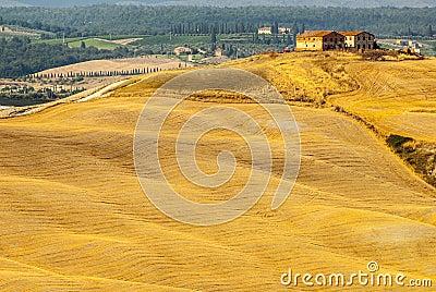 Senesi van Kreta, kenmerkend landschap in d Orcia Val