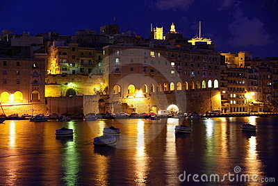 Senglea at night, Malta