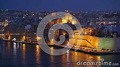 Senglea Ville de nuit à Malte banque de vidéos