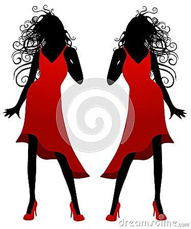 Senhora na silhueta vermelha do vestido