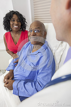 Senior African American Man in Hospital Bed