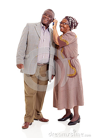 Senior african couple phone