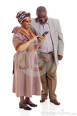 Senior african couple tablet