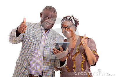 Senior african couple tablet pc