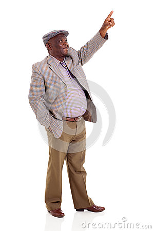 Senior african man pointing up