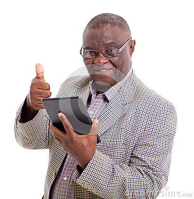 Senior african man tablet pc