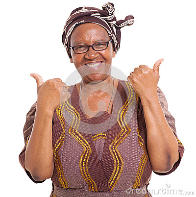 Senior african thumbs up